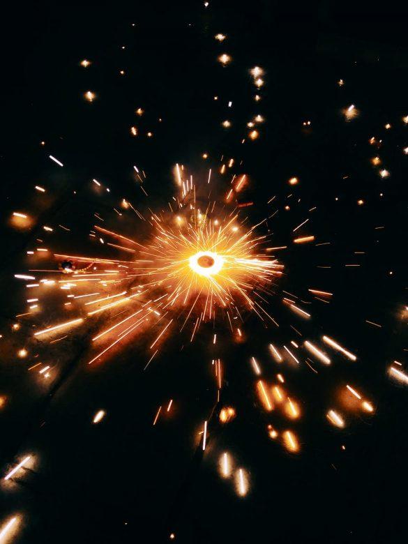 majestic fireworks sparkling in darkness