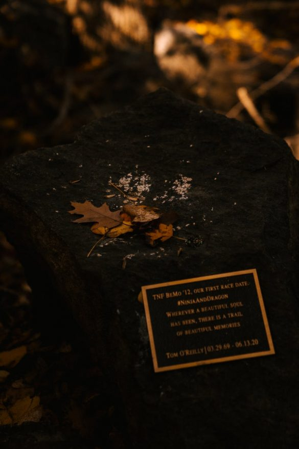 memorial stone in autumn park on sunny day